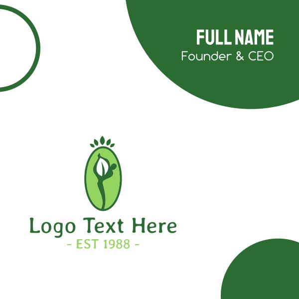 Yoga Person Leaf Business Card