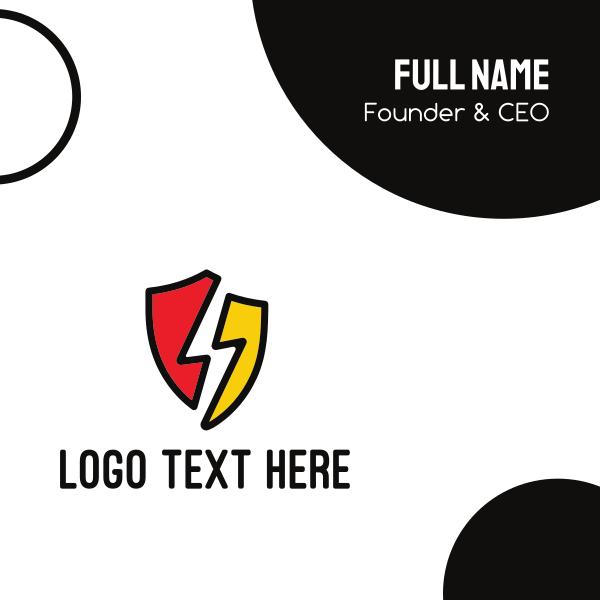 Lightning Bolt Shield Business Card