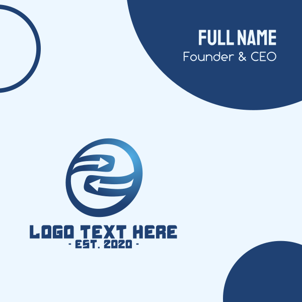 Blue Circle Cycle Arrow Direction Business Card
