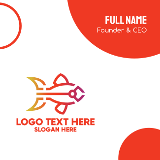 Gradient Fish Outline Business Card