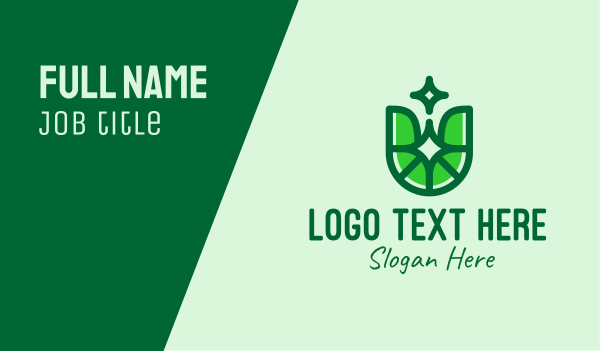 biological - Green Eco Letter U Business card horizontal design