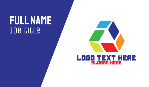 acrylic - Colorful Tech Triangle  Business card horizontal design