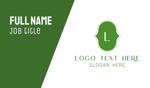creations - Green Cursive Letter Business card horizontal design