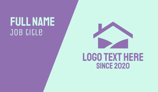 hill - Purple Home Business card horizontal design