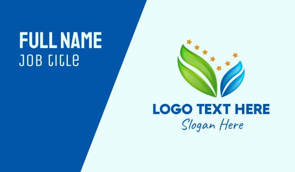 blue leaf - Eco Gradient Leaf Star Business card horizontal design