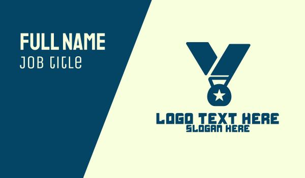 contest - Medal Letter V Business card horizontal design