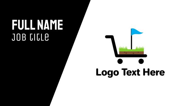 trolley - Golf Cart Flag Business card horizontal design