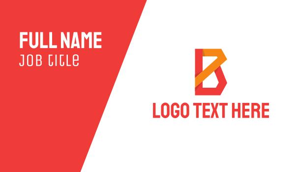 innovation - Orange Red Letter B Business card horizontal design