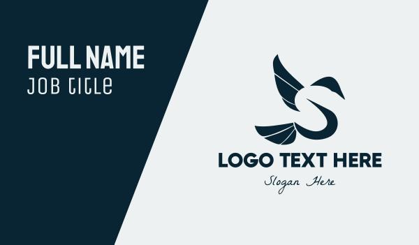 dove - Bird Letter S Business card horizontal design