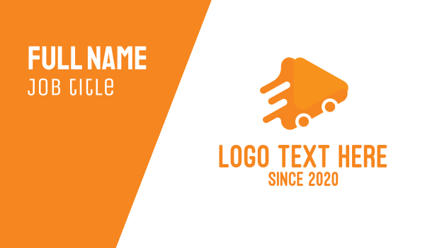 delivery - Triangular Orange Delivery Van Business card horizontal design