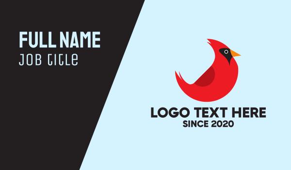 red bird - Cardinal Bird Business card horizontal design