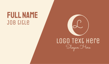 Hipster Crescent Moon Lettermark  Business Card