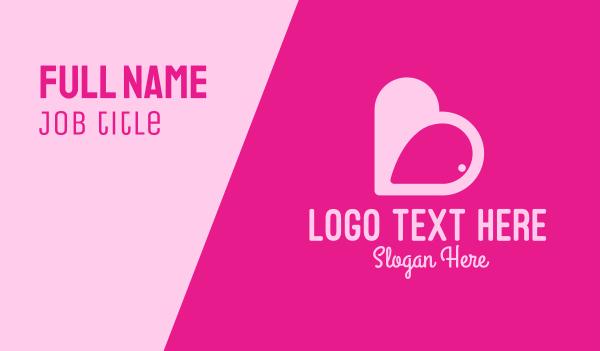 flirt - Pink Heart Dating App Business card horizontal design
