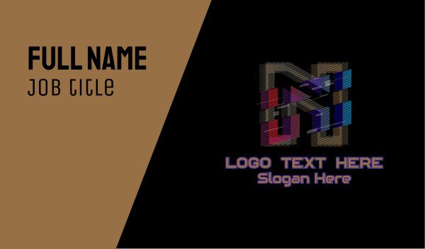 clan - Gradient Glitch Letter N Business card horizontal design
