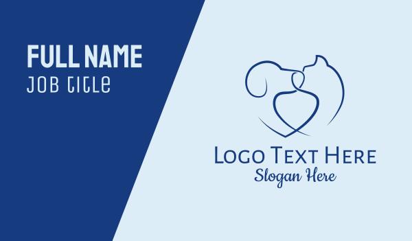 animal shelter - Heart Dog Cat Pets  Business card horizontal design