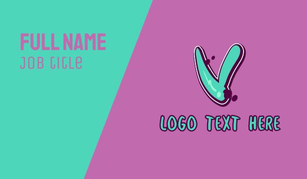 vibrant - Modern Graffiti Letter V Business card horizontal design