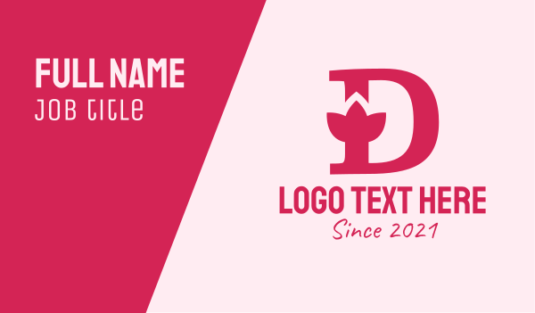 naturalist - Pink Letter D Flower  Business card horizontal design