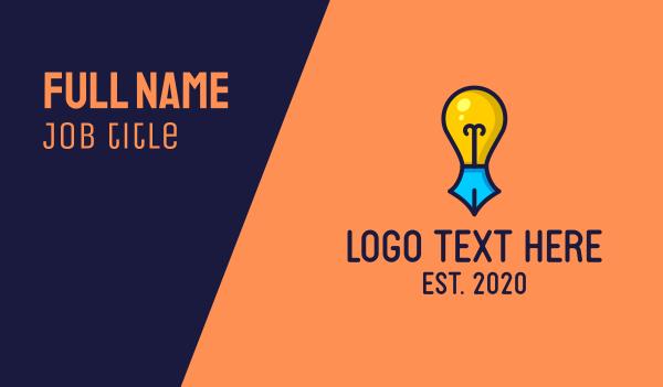 copywriting - Creative Writing Light Bulb Business card horizontal design
