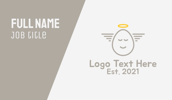 halo - Angelic Egg Outline  Business card horizontal design
