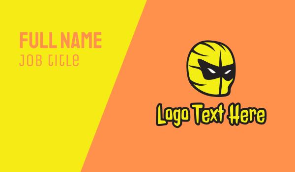 wrestler - Yellow Superhero Mask Business card horizontal design
