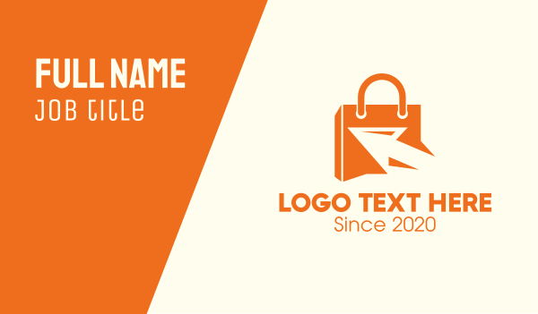 minimart - Orange Cursor Shopping Bag Business card horizontal design