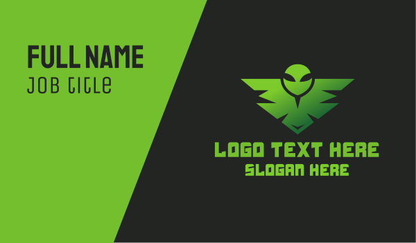 twitch streamer - Green Alien Badge  Business card horizontal design