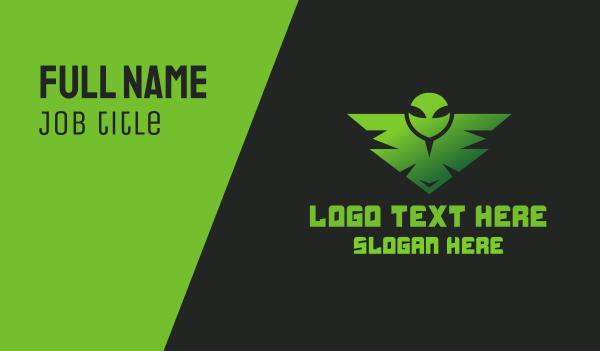 scifi - Green Alien Badge  Business card horizontal design