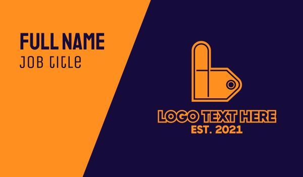 bargain - Price Tag Letter B Business card horizontal design