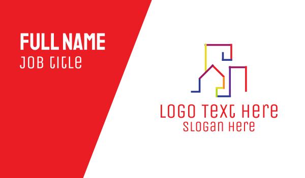 real estate development - Colorful Skyline Business card horizontal design