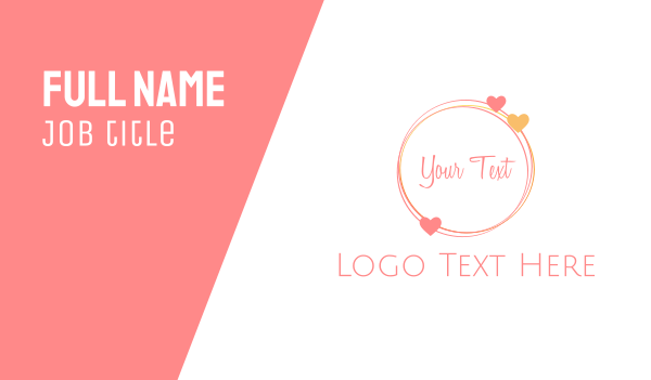 pink girl - Love  Circle Business card horizontal design