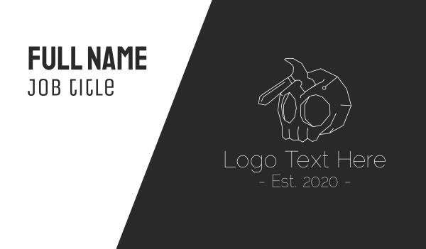 tools - Creepy Skull Hammer  Business card horizontal design