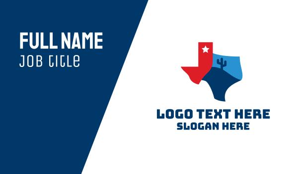 state - Texas Desert Map  Business card horizontal design