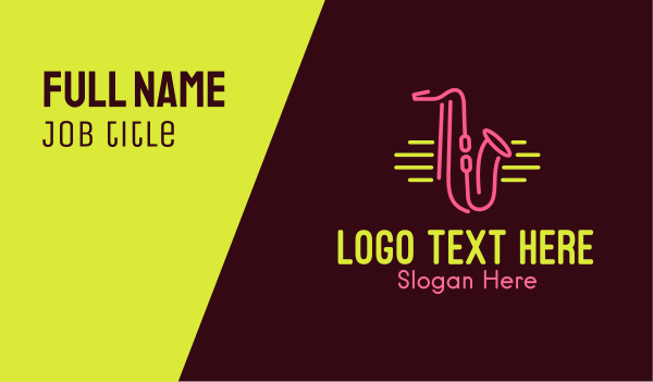 music lounge - Neon Saxophone Monoline Business card horizontal design