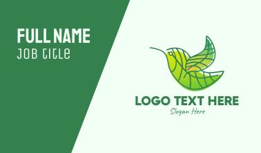 Green Leafy Bird Business Card