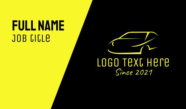 auto dealer - Yellow Sports Car  Business card horizontal design