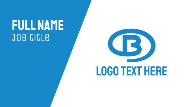mens salon - Blue Oval B Business card horizontal design