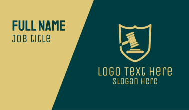 Law Shield Gavel Business Card