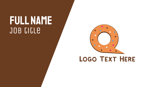 pastry shop - Donut Letter Q Business card horizontal design