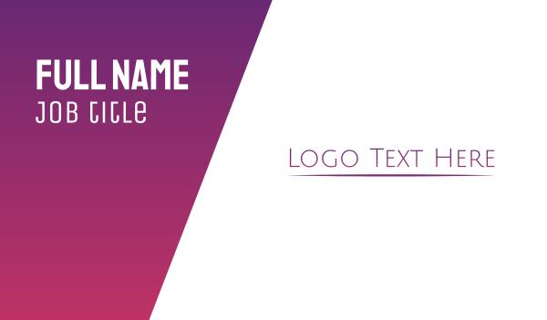 underline - Elegant Purple Wordmark Business card horizontal design