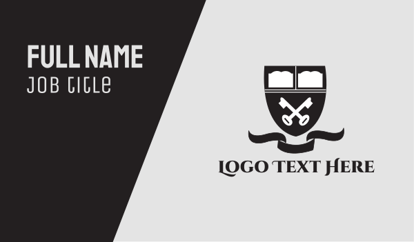 university - Key Emblem Business card horizontal design