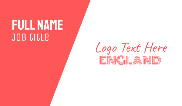 uk - Red & White England Font Text Wordmark Business card horizontal design