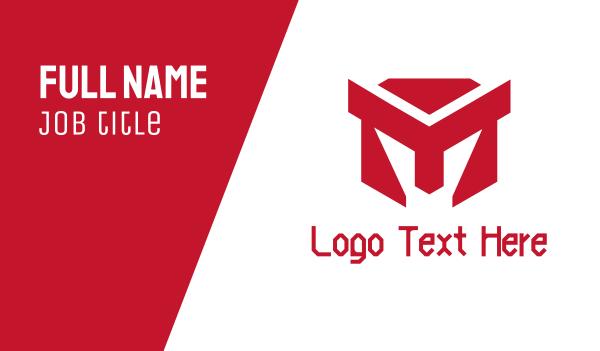 cube - Red Polygon Spartan Helmet Business card horizontal design