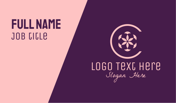 flower stall - Simple Flower Letter C Business card horizontal design