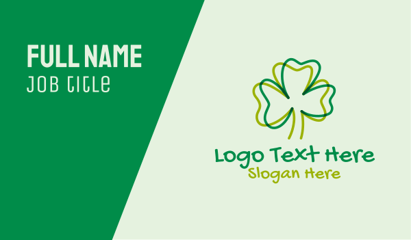 saint patrick - Shamrock Clover Doodle Business card horizontal design