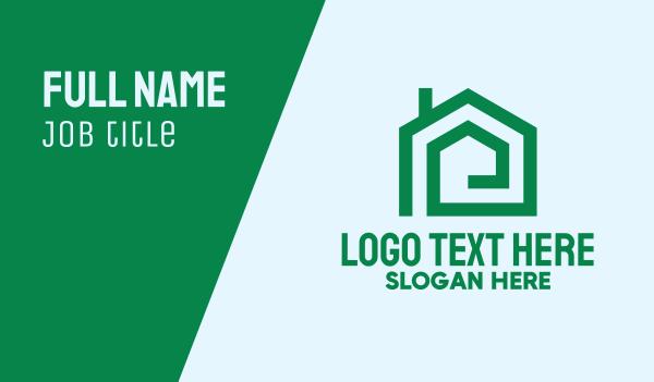 pentagon - Green House Real Estate Business card horizontal design