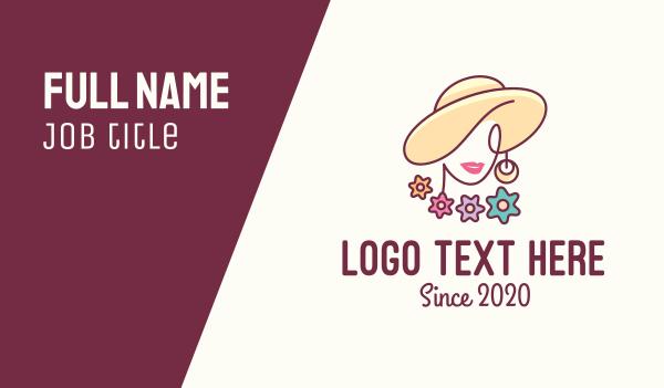 waxing - Flower Woman Hat Business card horizontal design