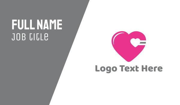 adult - Pink Cardio Heart Business card horizontal design