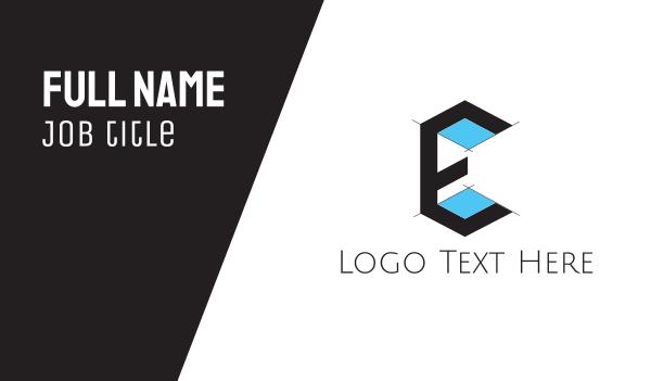letter e - Architecture Drawing Letter E Business card horizontal design