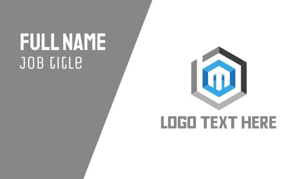 up - Hexagonal Letter M Business card horizontal design