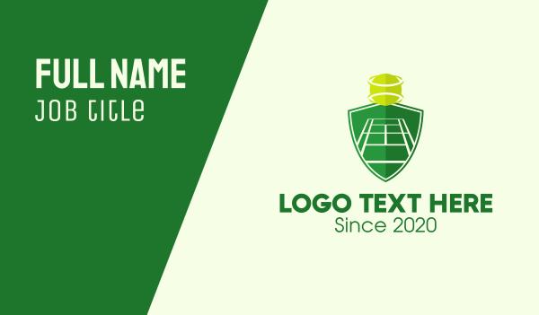 tennis coach - Green Tennis Court Shield Business card horizontal design